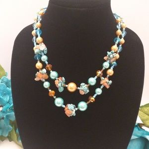 Colorful Glass Beads and Turquoise Necklace